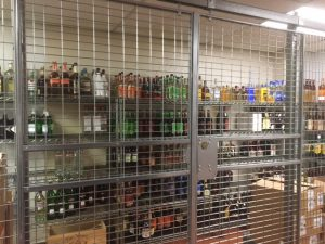 Liquor Cage installed in midtown NYC Hotel provides secure visual storage. Free on site layouts. Sales@LockersUSA.com or P(917) 837-0032