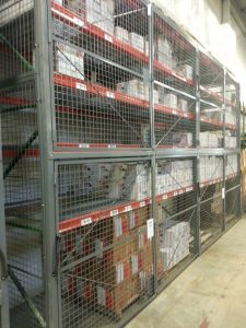 Pallet rack doors, sides and backs to secure inventory on rack. Doors can be full height or tiered as needed. Free on site layouts. P(917) 837-0032 or Sales@LockersUSA.com